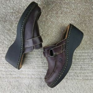 Born Women's Brown Leather Clog Mules Sz 7 Slip-on